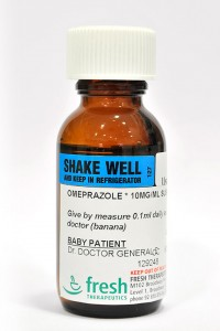 Omeprazole (flavoured banana or butterscotch)